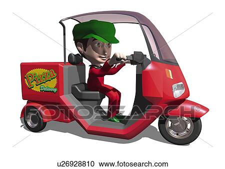 stock illustrations of image of a moped for pizza delivery the