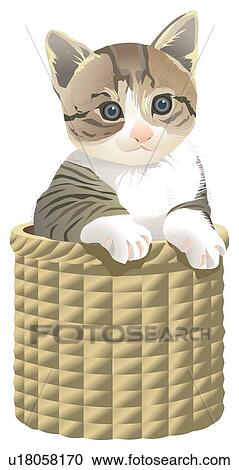 Cat In Basket Clipart U18058170 Fotosearch