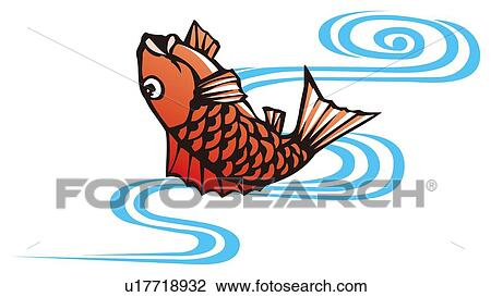 clip art of painting of a jumping sea bream woodcut u17718932 rh fotosearch com Bluegill Fish What Are Bream Fish