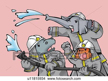 Drawings of Animal firefighters, elephant, monkey ...