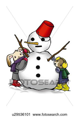 Rabbit And Dog Making A Snowman Front View White Background Cut Out Clip Art U29536101 Fotosearch