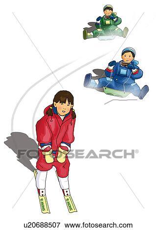 2人の司厨員 乗馬 上に そりで滑べる そして A 女の子 スキー