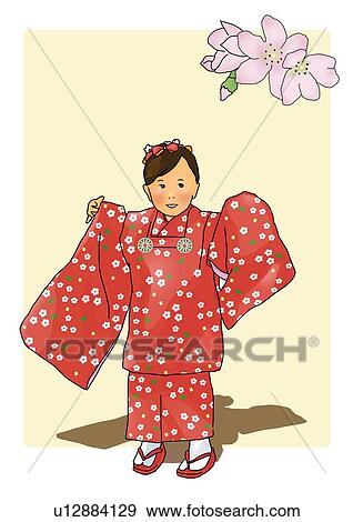 Banque D Illustrations Portrait De A Japonaise Girl Dans