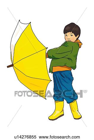 stock illustration of portrait of a boy holding an umbrella side