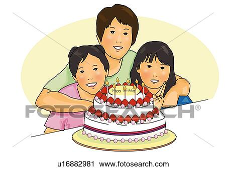 Cool Portrait Of Japanese Family With A Birthday Cake Front View Personalised Birthday Cards Rectzonderlifede