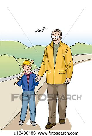 drawing of grandfather and grandchild illustration front view