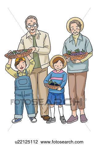 clip art of grandparents and grandchild illustration front view
