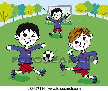 اطفال يلعبون كرة القدم في الملعب