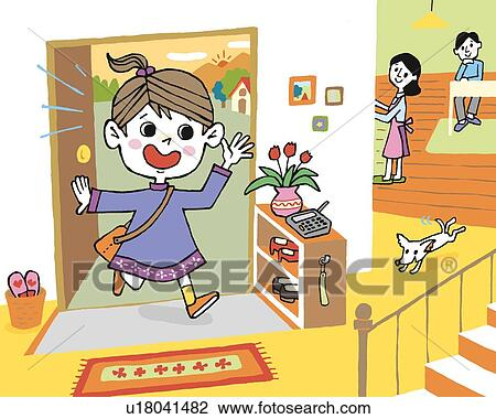 clip art of girl coming home painting illustration