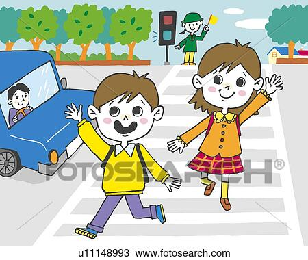 Clipart Children Drawing Drawing Children Crossing