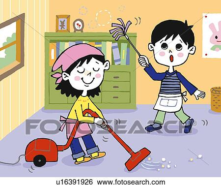 Marvelous Stock Illustration   Children Cleaning Room, Painting, Illustration,  Illustrative Technique, Front View