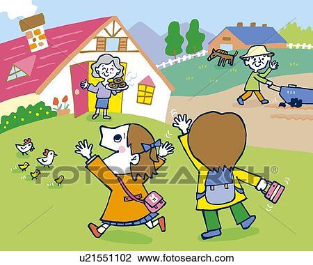 Clipart Enfants Future Maison Peinture Illustration