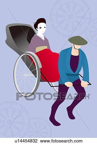 人 引く 女 上に 人力車 絵 イラスト Illustrative 技術 サイド