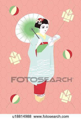 女 中に 着物 絵 イラスト Illustrative 技術 サイド光景