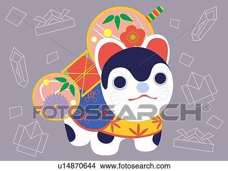 日本語 ペーパー 犬 絵 イラスト Illustrative 技術 イラスト