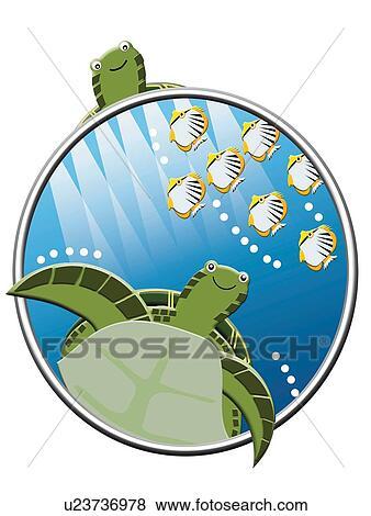 schildpadden en tropische vissen schilderij