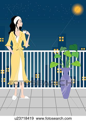 Looking From Balcony Illustration