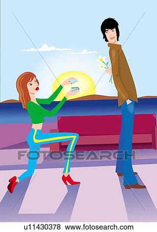 女 意外 人 によって 提案 へ 彼 上に 彼女 ひざ イラスト