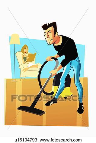 Dibujo hombre el limpiar con la aspiradora piso - Trabajo para limpiar casas ...