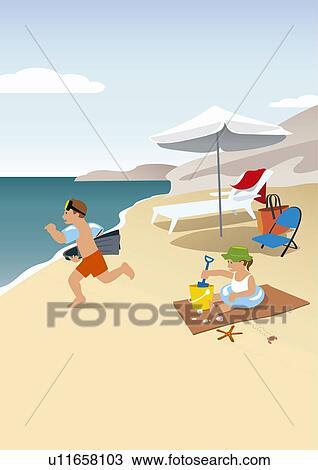 Dibujo Niños Jugar En La Playa U11658103 Buscar Clip Art