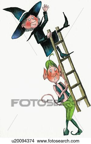drawings of elf carrying off a ladder with a witch on it u20094374