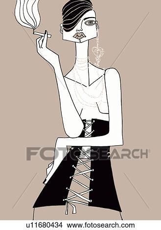 Dessins Femme Dans Corset Et Cheveux Courts Fumer Cigarette
