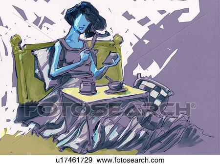 Stock Illustration Frau Haben Fruhstuck Bett U17461729 Suche