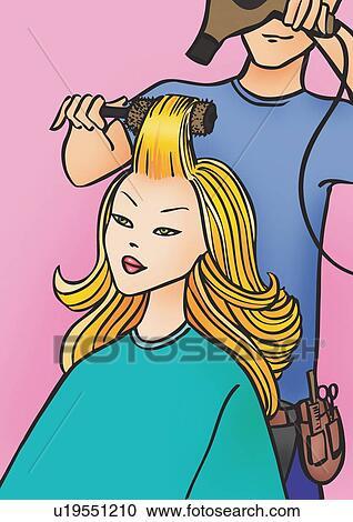Biondo, donna, detenere, capelli, secco, vicino, uomo ...