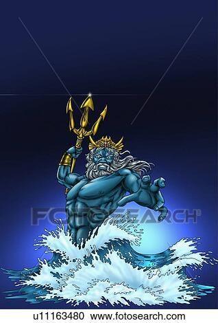 Poseidon In The Sea Clipart U11163480 Fotosearch
