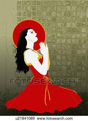 5a7223e3ca39c Arquivos de Ilustração - mulher, chão, orando. Fotosearch - Busca de Clip  Art