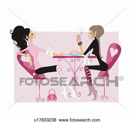 stock illustration of woman getting nails done in nail salon rh fotosearch com hair and nail salon clip art nail salon clip art free