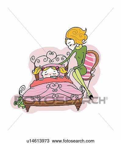Zeichnung mutter neben krank tochter bett u14613973 for Bett zeichnung
