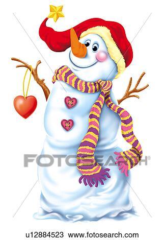 Clipart bonhomme de neige chapeau et charpe u12884523 recherchez des clip arts des - Clipart bonhomme de neige ...