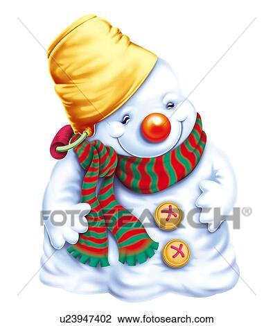 Bonhomme de neige chapeau et charpe clipart u23947402 fotosearch - Clipart bonhomme de neige ...