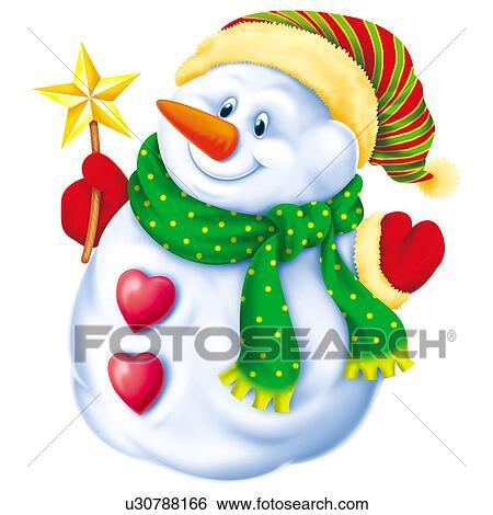 Clipart bonhomme de neige chapeau et charpe u30788166 recherchez des cliparts des - Clipart bonhomme de neige ...