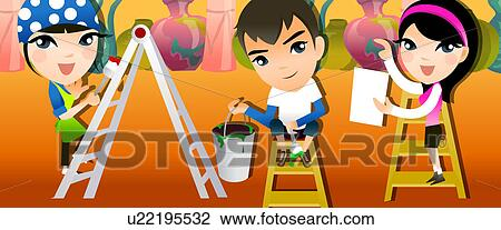Clip Art   Portrait Of A Boy And Two Girls Painting A Room. Fotosearch