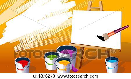 Zeichnung Nahaufnahme Von Dosen Malen Mit A Pinsel Und A