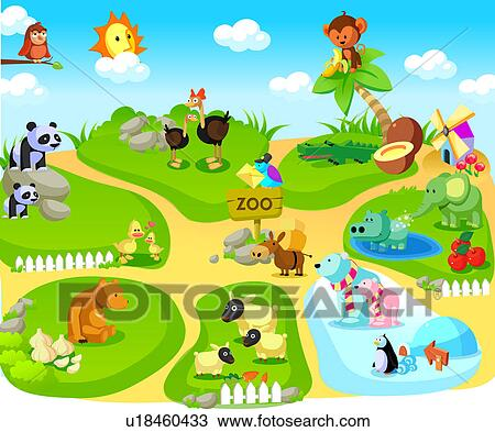 Drawing Of Group Of Animals In A Zoo U18460433 Search Clipart