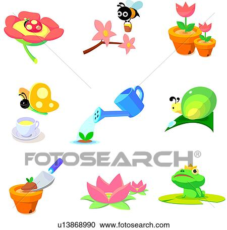 Stock Illustrations of Flowers and animals found in garden ...