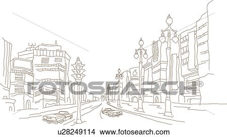 Drawings of Cars on the road in a city u28249114 - Search Clip Art ...