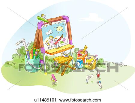 Clipart Of High Angle View Of An Easel U11485101 Search Clip Art