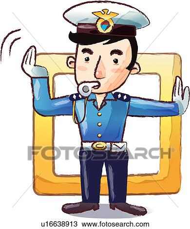 Drawing of hand signal, cop, blowing, whistle, policeman uniform ...