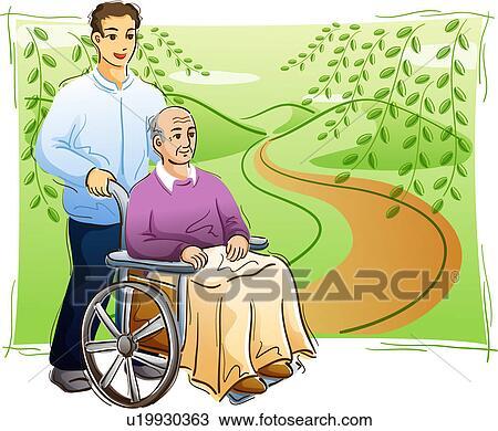 dessin personne agee tre pouss dans a chaise roue u19930363 recherchez des cliparts. Black Bedroom Furniture Sets. Home Design Ideas