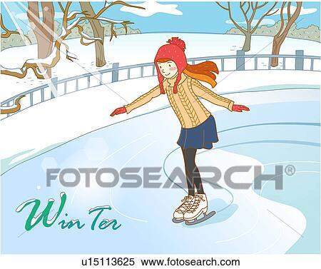 Banque d 39 illustrations neige hiver patinoire patinage artistique dehors arbre saison - Dessin patinoire ...