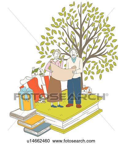클립 일러스트 - 은퇴, 인생, 의회, 은, 나이 먹은, 노년, 한 쌍 ...