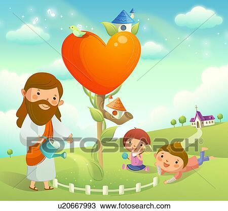 figuur jesus christus watering een plant en