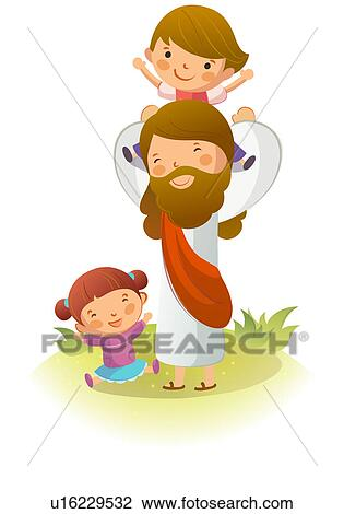 clip art of jesus christ carrying a boy on his shoulders with a girl rh fotosearch com jesus christ clipart png jesus christ clipart lds