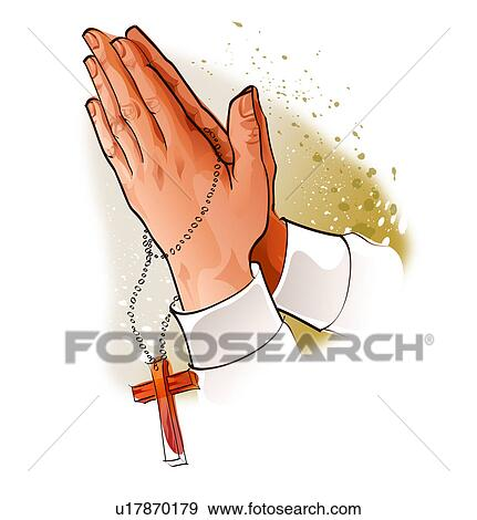 Close Up Of A Persons Hands Praying With Rosary Beads Stock Illustration