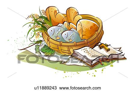 Drawing Of Close Up Of The Bible Near A Basket Of Vegetables And