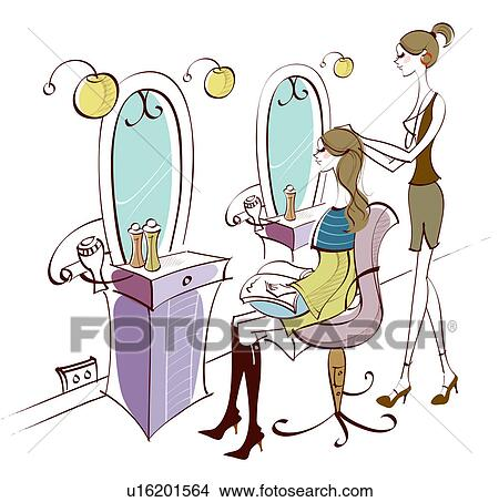 Drawing Female Hairdresser Working On A Woman S Hair Fotosearch Search Clip Art Ilrations